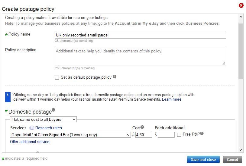 eBay postage policy